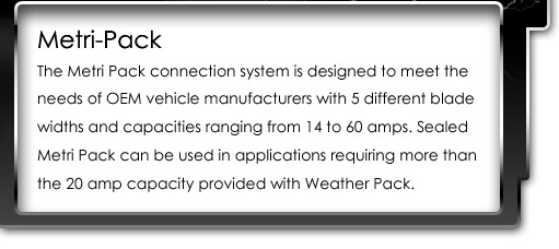 Metri-Pack connection system is designed to meet the needs of OEM vehicle manufacturers with 5 different blade widths and capacities ranging from 14 to 60 amps.  Sealed Metri Pack can be used in applications requiring more than the 20 amp capacity provided with Weather Pack.